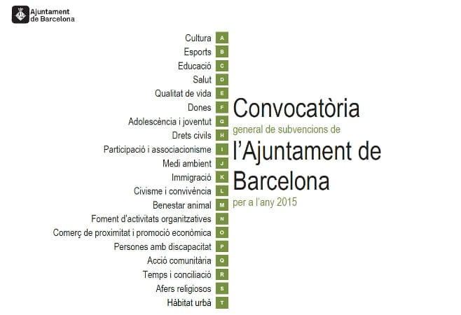 Subvencions Generals 2015 de l'Ajuntament de Barcelona