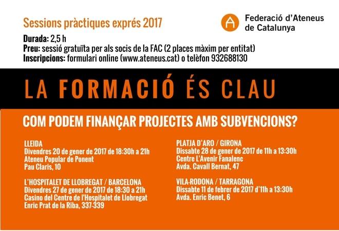 Formació 2017: Com finançar projectes amb subvencions?
