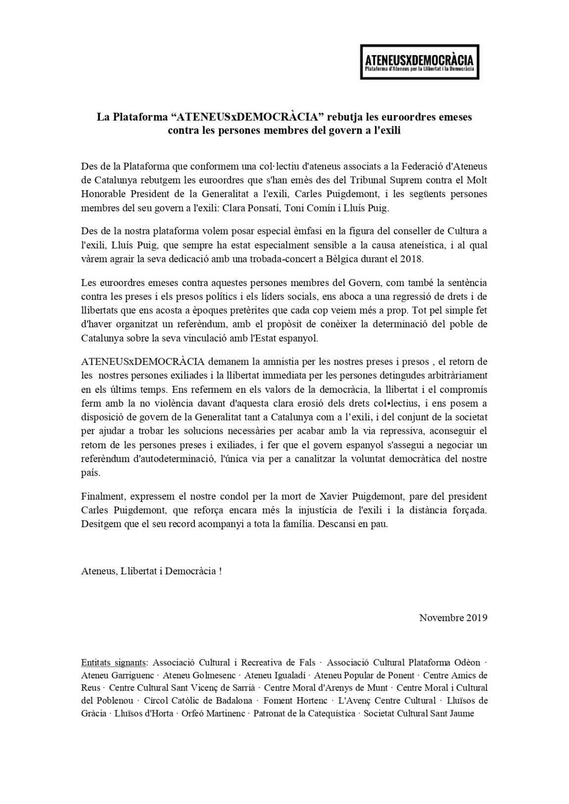 """La Plataforma """"ATENEUSxDEMOCRÀCIA"""" rebutja les euroordres emeses contra els membres del govern a l'exili"""
