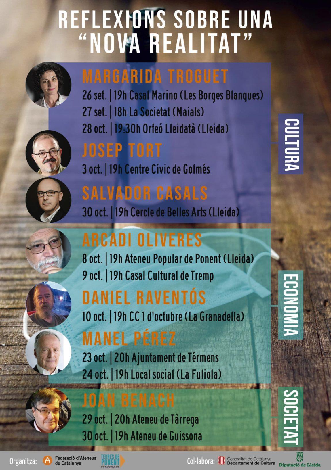 Arcadi Oliveres, Manel Pérez, Daniel Raventós, Joan benach, Salvador Casals, Josep Tort i Margarida Troguet, al cicle de debats de la Delegació de Terres de Ponent