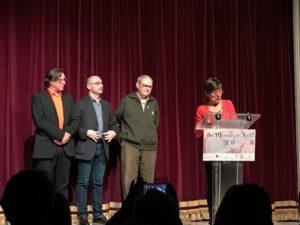 L'actriu professional Rosa Andreu presenta els parlaments dels presidents Àlex Casanovas (AADPC), Salvador Casals (FAC) i Josep Rafecas (FGA)