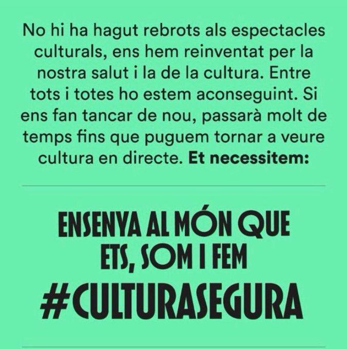 El sector cultural exigeix que no els obliguin a tancar amb la campanya #CulturaSegura