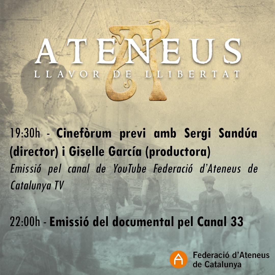 El Canal 33 emetrà el documental 'Ateneus: llavor de llibertat'