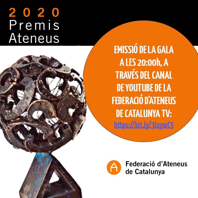 Avui a les 20h esteu convidats a seguir pel canal de Youtube de la FAC, la gala dels Premis Ateneus 2020