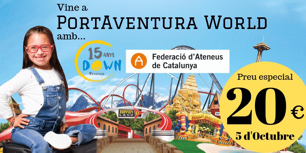 Col·labora amb Down Catalunya i vine a Port Aventura per 20€