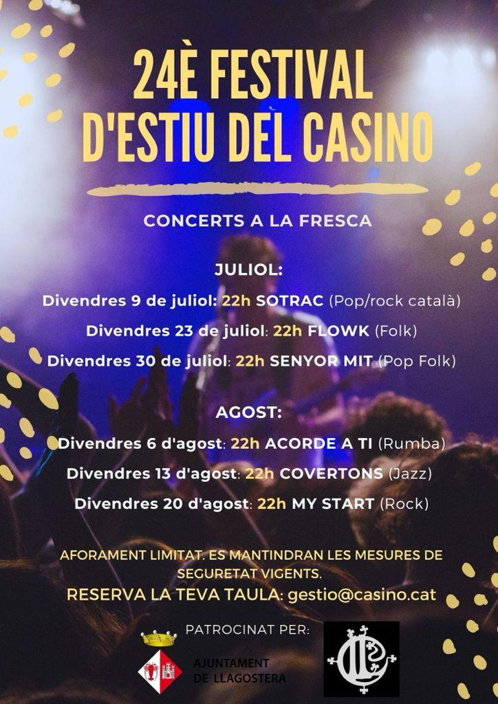 El Casino Llagosterenc presenta la 24a edició del seu cicle de concerts a la fresca