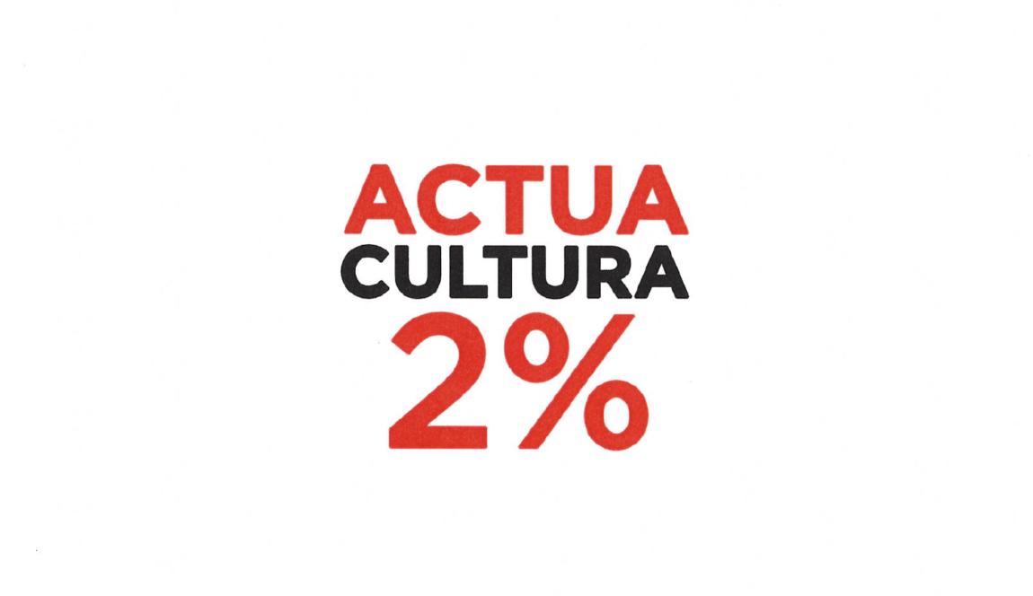 Et necessitem: vine a l'acte 'Un crit per la Cultura' d'Actua Cultura 2%, el 9 de març