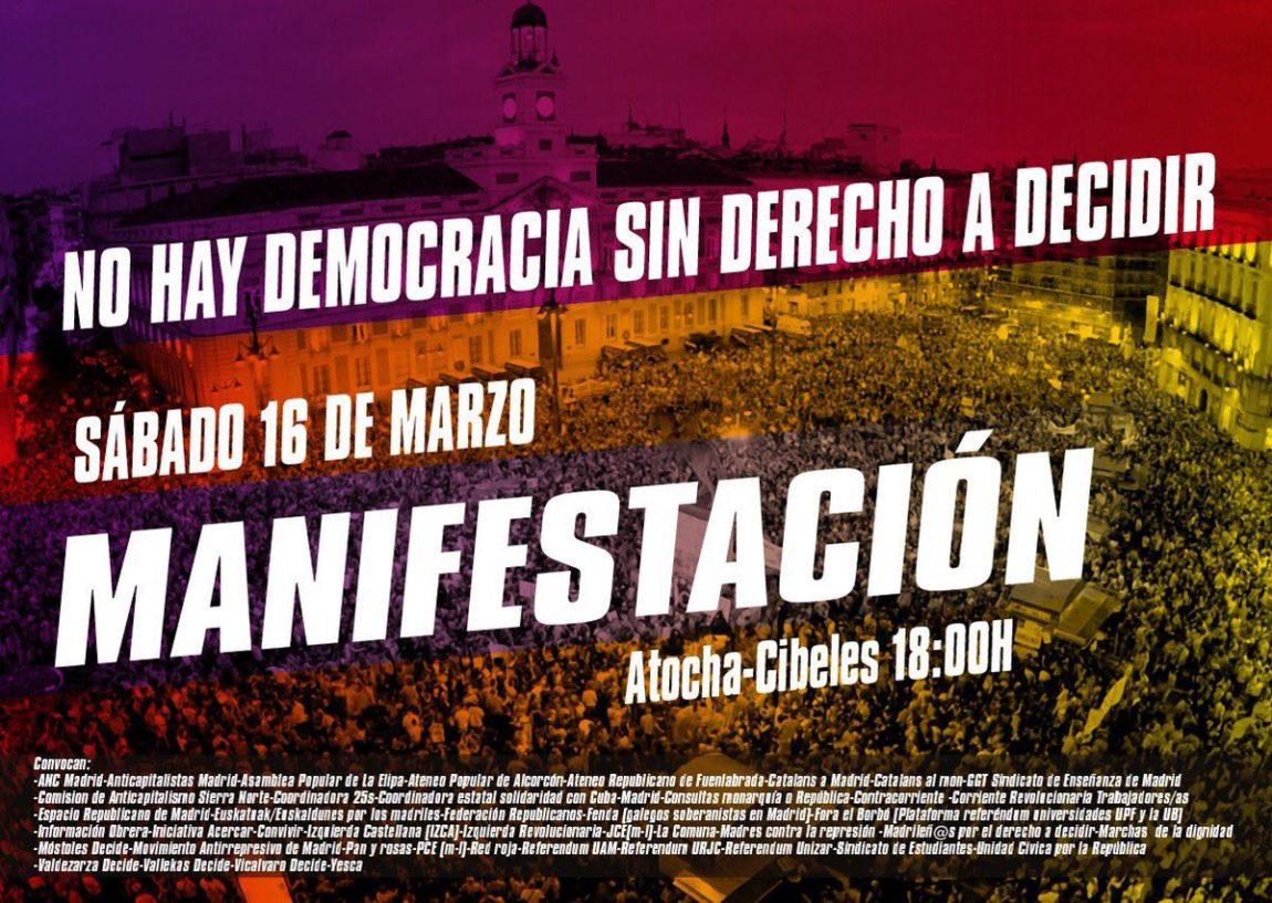 La FAC s'adhereix a la manifestació convocada a Madrid per l'ANC dissabte 16