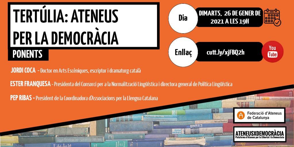 Jordi Coca, Ester Franquesa i PepRibas, els protagonistes de la nova tertúlia d'Ateneus x la Democràcia